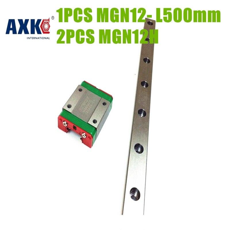 AXK Free shipping linear rail 500mm MGN12 + 2pcs  MGN12H block linear guideway MGN12H 500mm  TWO BLOCKS EACH RAIL<br>