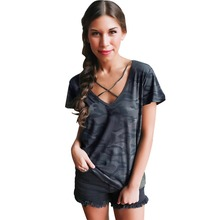 QA689 Camouflage plus size women clothing summer short sleeve cross V-neck t shirt tee outdoors top