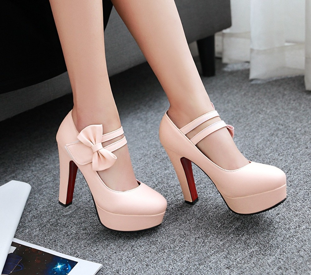 MORAZORA Fashion sweet high heels shoes 12cm shallow women pumps wedding shoes big size 34-47 platform shoes bowtie 9