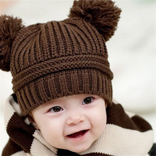 Cute Baby Kids Girl Boy Dual Balls Warm Winter Knitted Cap Beanie Hat Newborn Prop Outfit Headdress Free Size Fit For 6~18M