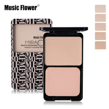 Music Flower Face Foundation Base Makeup Matte Shimmer Fix Pressed Powder Palette Concealer Puff Contour Nude Compact Cosmetics(China)