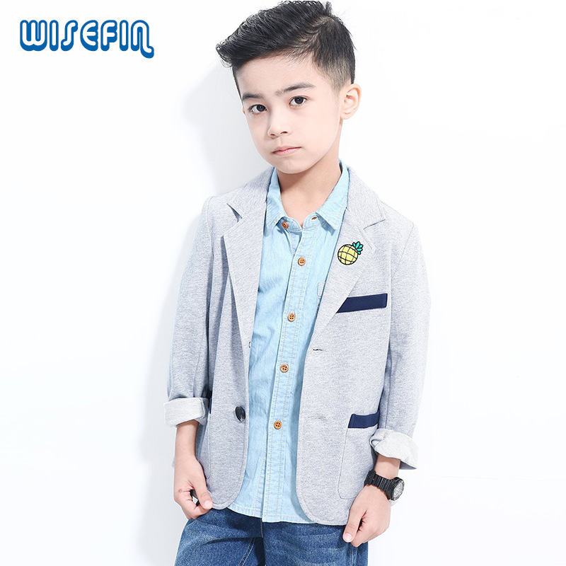 WISEFIN Kids Blazers For Boys Casaul Suits Brand Solid Children Jackets And Coats Casual Spring Boy Outerwear 6-16 Years(China (Mainland))
