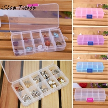 10 Grids Adjustable Jewelry Beads Pills Nail Art Tips Storage Box Case for storing earrings rings beads pills(China)