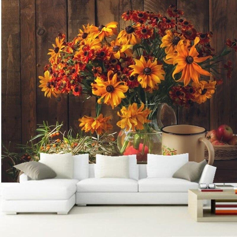 Custom 3D murals,Still-life Bouquets Zinnia Apples Vase Mug Flowers papel de parede,living room sofa TV wall bedroom wallpaper<br>