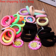 Free shipping! 5 Pcs/ Pack Elastic candy Color Girls' Towel Hair Ropes Kids' Hair bands Hair Styling hairbands Accessories