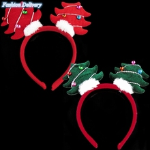 Christmas Headwear For Kids Festival Decoration Headband With Metallic Small Bells Adorable Christmas Tree Style Girls Hair Hoop