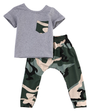 2017 Hot Newborn Baby Boy Infants Cotton T-shirt  Trousers Playsuits Outfits Clothes camouflage Cool Boy's Set