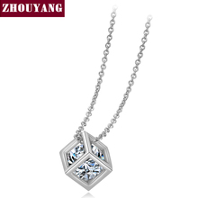 Top Quality Hollow Out Cube Crystal Rose Gold Color Pendant Necklace Jewelry Austrian Crystal Wholesale ZYN279 ZYN425(China)