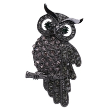 Fashion Owls Brooch Pin Vintage Rhinestone Scarf Clips Badge Christmas Gift broches rozet brosche(China)
