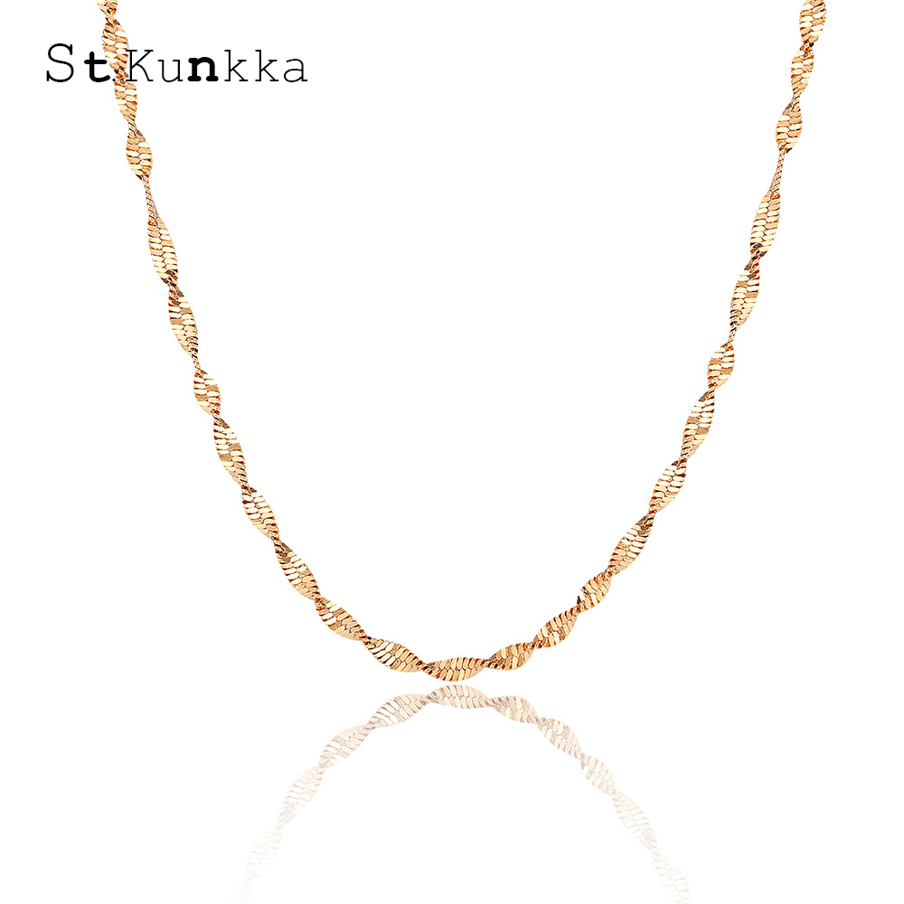 10PCS 16-30inch Gold Plated Double Water Wave Necklace Fashion Jewelry Necklace