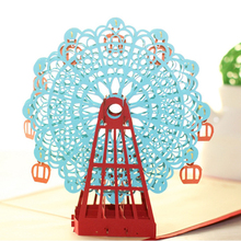 2016 New Papercraft Pop-Up 3D Ferris Wheel Valentine Cards May Love Goes Round And Round for Wedding Party Decor Gift 15*15 CM