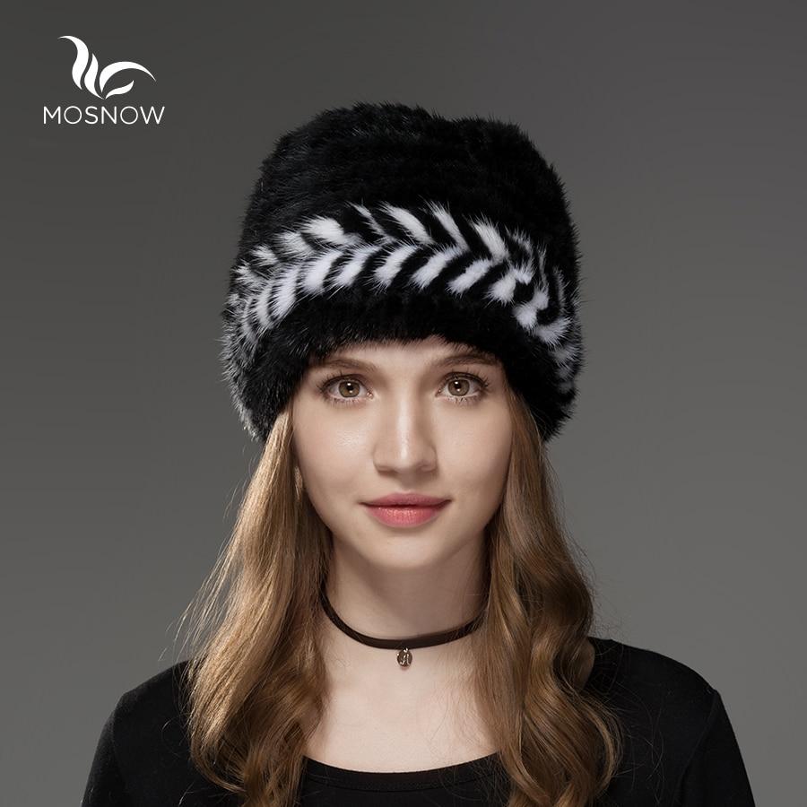 Mosnow 2017 New Natural Mink Fur Hat Winter Arrow Pattern Women Vogue Knitted Casual Brand Warm  Hat Female Skullies BeaniesÎäåæäà è àêñåññóàðû<br><br>