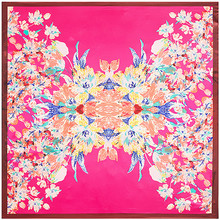 Flower Pattern Scarves Shawl twill Silk Rayon Larger Size Square Scarf Women Printed Bandana hijab 90*90cm red green