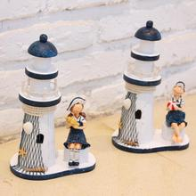 23*14CM Mediterranean Style Creative Resin Lighthouse Model Handmade Beacon Nautical Home Decoration Wedding Gift Crafts R5(China)