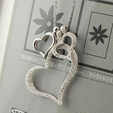 Korean jewelry frosted love heart necklace three different link length sweater female free shipping