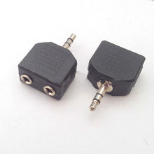 10pcs high quality 3.5mm  3 pin to 3.5mm   Audio Converter  couple dual track  plug 3.5mm holes