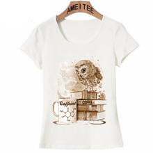 Vintage Eule Design T-Shirt Sommer Mode Frauen t-shirt Kaffee Obsession Eule Druck T-shirt Casual Tops Niedliche Weibliche Tees(China)