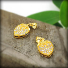 Micro pave Clear CZ Peach Shape Charms Pendants Of Gold Cladding, Cubic Zirconia Pave on Copper Approx 20*12 mm(China)