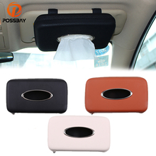 POSSBAY Car Sun Visor Tissue Box Container Towel Napkin Tissue Holder Beige/Black/Brown Tissue Case Napkin Paper Container