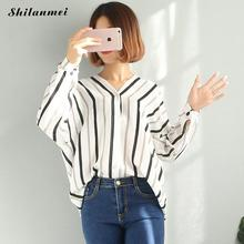 Buy 2018 Korean style Women Ladies Clothing Tops Long Sleeve Striped Fashion Shirt Casual V neck Blouse Tops Loose Clothes Women for $10.50 in AliExpress store