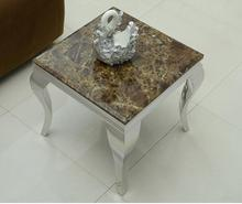 Marble. Stainless steel small tea table, coffee table