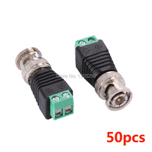 50Pcs/Lot Coax Cat5 To Bnc Male Connector Coax Av Plug Adapter UTP Video Balun Connector Adapter Plug CCTV System Accessories(China)