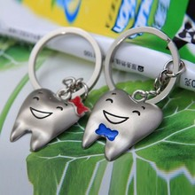 Wholesale happy smile bowknot Mr and Mrs Tooth Love Couple Keychain Fashion Men Women Keyring Key Chain Valentine's Day Gift