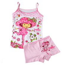 Children summer style clothing set  Baby Girls Elsa princess dora kitty cotton underwear set  Kids tank top & Boxers(2 to 6Y)