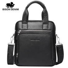 BISON DENIM Genuine Leather Men's Briefcase Business Men Black Handbag High Quality Messenger ipad Laptop Bag Men's Totes N2333