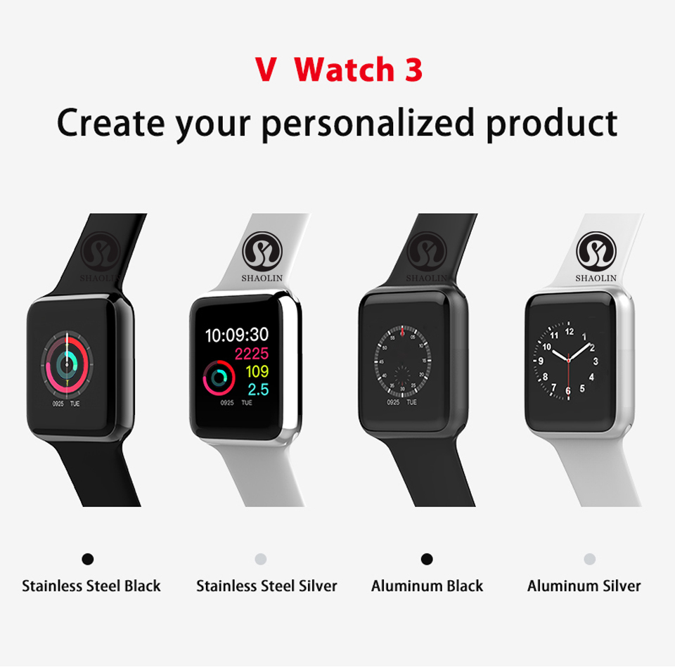 SHAOLIN Bluetooth Smart Watch Heart Rate Monitor Smartwatch Wearable Devices for iPhone IOS and Android Smartphones apple watch-0