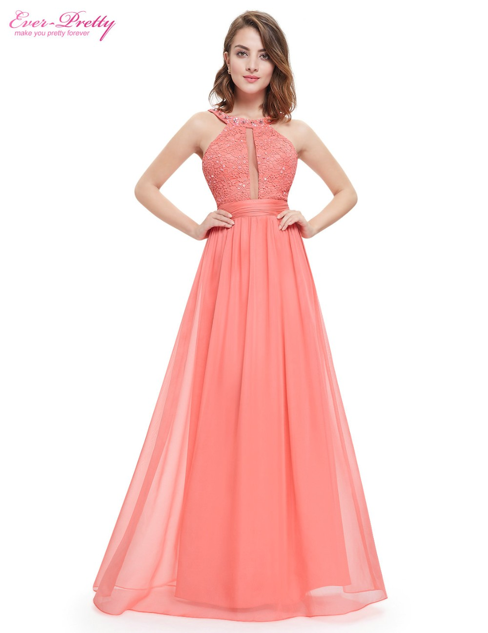 Long Evening Dresses 2018 Women  Ever Pretty EP08572 Beads Round Neck Wedding Events Green Lacy Ruffled Evening Dress New