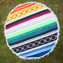 Beach  Travel Gym Bath Boho Round Beach Towel Bekini Cover Ups Print Tassel Round Blanket Towel