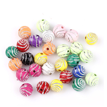 200pcs 10mm Loose Spiral Silver Round Acrylic Beads For Needlwork Supplies For Jewelry Wholesale Bracelet Diy Making Accessories(China)