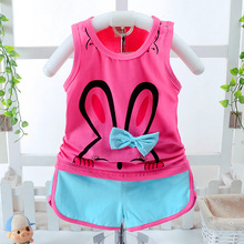 Toddler Baby Girls Clothing Sets Kids Vest + Shorts 2 Pics Suits 2017 Children Catton Clothing Sets Baby 12M-5T(China)
