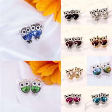 LNRRABC Fashion earrings 1 Pair brincos Charming Lovely Owl Shape Crystal Ear Stud White Wedding Gift Earrings for women Jewelry