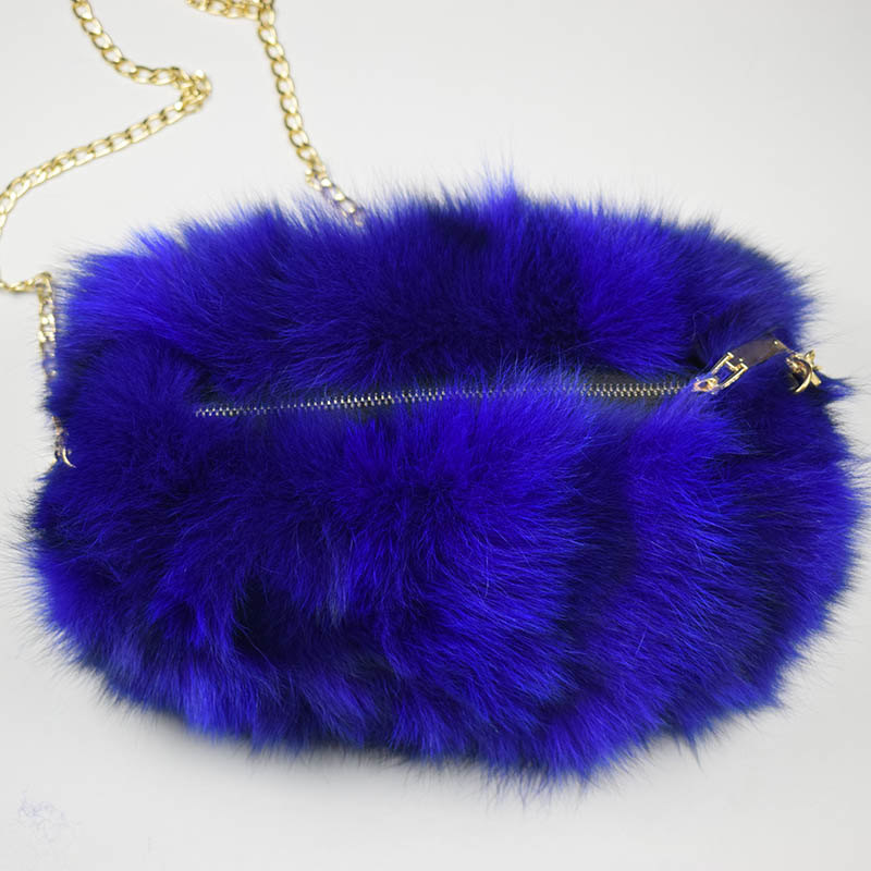 fox fur handmuff royal blue 2