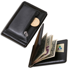 Wallet men Leather money clip with coin pocket leather clamp for money business style purse with clip men wallets black men gift(China)