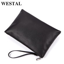 WESTAL Mens Leather Envelope Clutch Bag Men Large Genuine Leather Soild Black Fashion Big Men Envelope Clutch Bags 8860