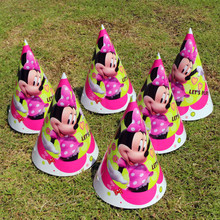 10pcs/lot Minnie mouse Caps Hats birthday party decoration supplies party caps theme party cocked hat with strings kids favor