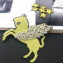 Rhinestone Patches Gold Embroidered Star Cartoon Unicorn Iron On Patch For Clothing Applique Wing Beaded Crystal Craft Accessory(China)