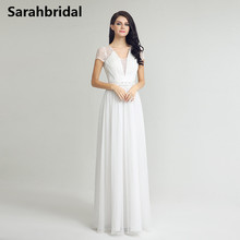 Buy Simple Beach Wedding Dresses 2017 Cap Short Sleeves V Neck Cheap Country Bridal Gowns Vestidos De Novia Floor Length LX255 for $100.00 in AliExpress store