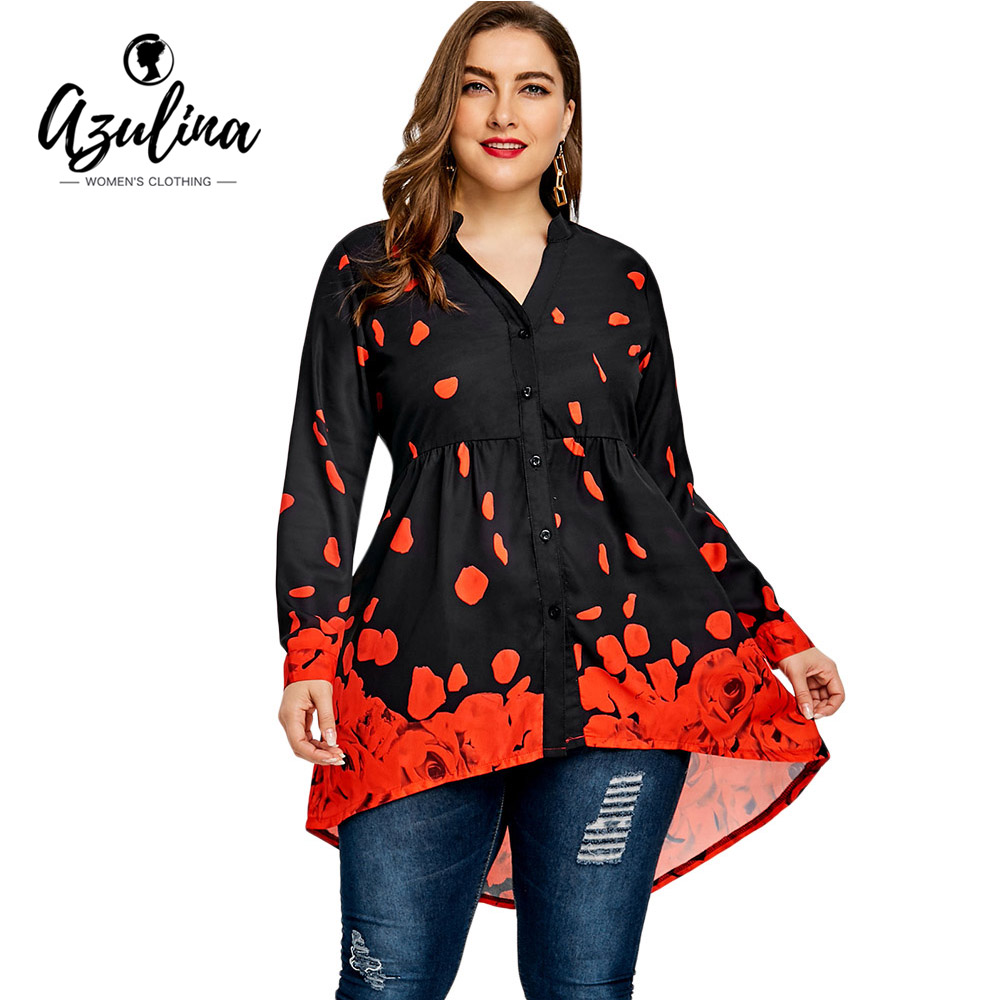 AZULINA Plus Size Rose Petal Valentine Top Women Blouses Casual V-Neck Long Blouse Shirt 2018 Spring Ladies Tops Blusas Big Size