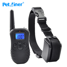 Petrainer 998DR-1BL 300M Remote Electric Shock Vibration Rechargeable Rainproof Pet Dog Training Collar With LCD Display