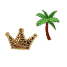 1pcs New Sequins Crown Patch Embroidery Cocount Tree Clothes Patches Iron On Motifs Garment Sticker Appliques Clothing DIY Decor(China)