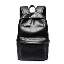 2017 Large capacity Travel Laptop Backpack mochila Men's Leather Backpack Schoolbag Solid Cool Black Leather Backpacks men