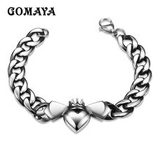 GOMAYA Mens Male Charm Bracelet Bangles DIY Heart Crown Women Men Pulseira Jewelry Gift Black Vintage Punk Pulseira(China)