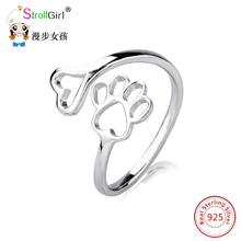 finger adjustable ring Puppy Dog Paw Open dog pet paw fashion jewelry accessories 925 sterling silver rings for women girls(China)