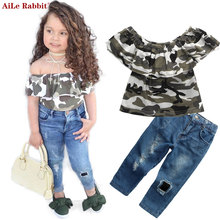 AiLe Rabbit 2017 INS New Fashion Girls Clothing Sets Camouflage T Shirt + Jeans 2pcs Suits Children's Hole Pants Kids Popular