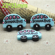 10pcs Resin kawaii blue school bus flat back Cabochon Art Supply Decoration Charm Craft DIY 22x31mm