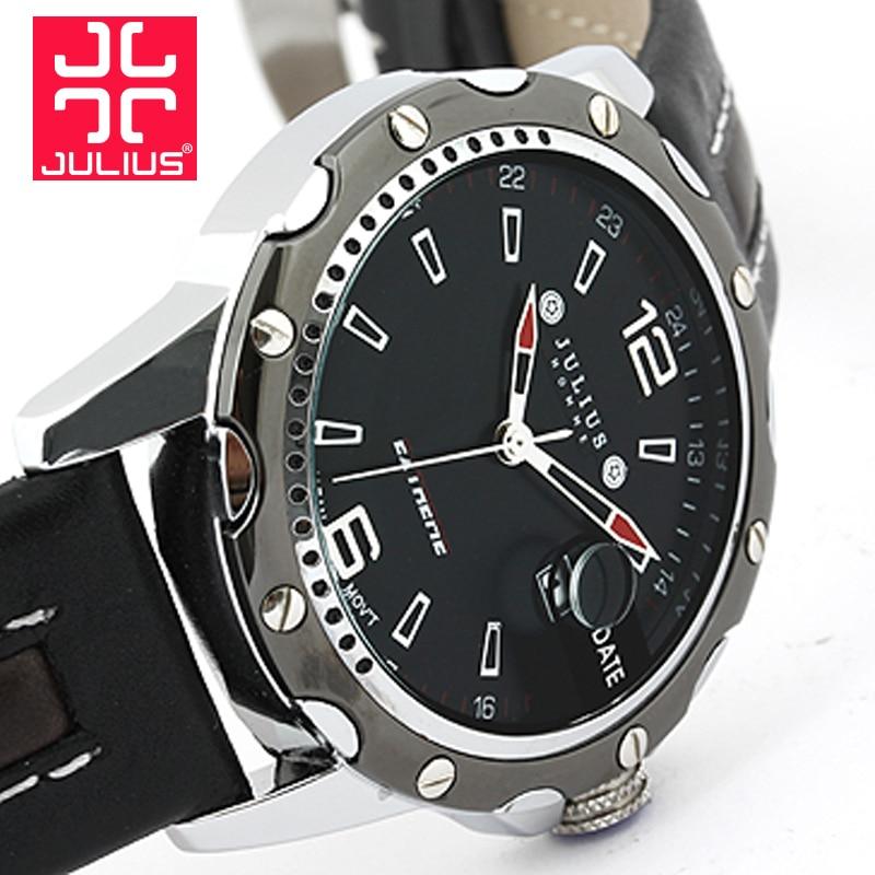 Fashion Top Luxury brand JULIUS Watches men Calendar Gentleman Leather Strap Quartz-watch Casual Dress Ladies Male Wristwatch<br>